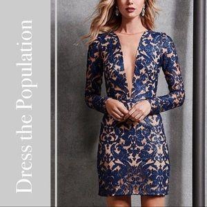 Dress the Population Claudia Illusion Mini Dress
